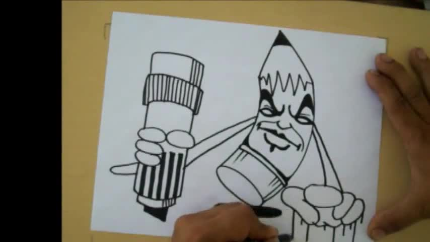 How to Draw a graffiti Character (pencil character) by ...  How to Draw a g...