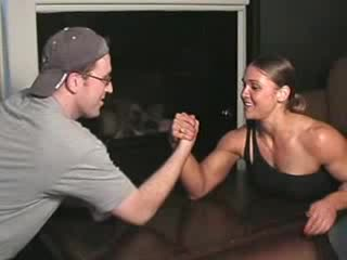 Little disturbing busty female armwrestling Elefantino