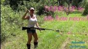 One Girl Shooting Browning 12 Gauge Shotgun at Close Range