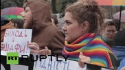 Ukraine: LGBT activists in Kiev protest for equal labour rights and visa-free regime with EU