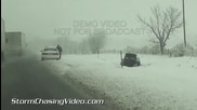 Магистрала 57 в Южен Илинойс е покрита с сняг 5.1.2014