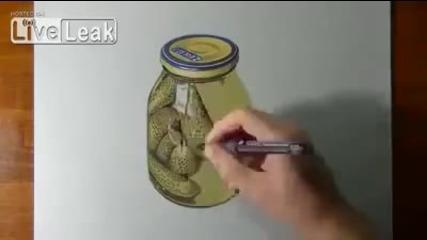 3d рисунка ( буркан с краставички ) !