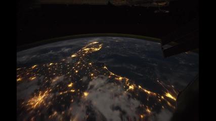 Нощен полет от космоса над земята