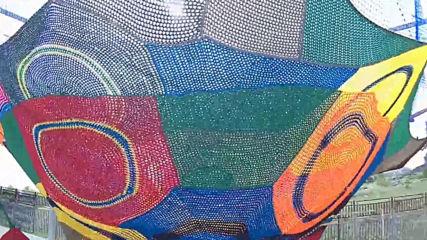 Изключителна и цветна плетена площадка за деца в Сливен - Въжеландия/ropeland