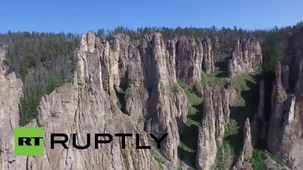 Russia: Drone captures Sinsky Pillars, a new UNESCO World Heritage Site