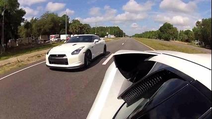 Lamborghini Murcielago vs. Nissan Gt-r - Улична гонка