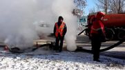Russia: Burst pipe in Irkutsk fills the streets with steam *EXCLUSIVE*