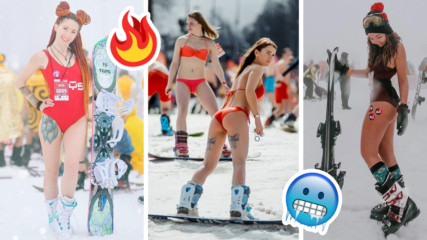 Горещи секси рускини карат ски на тематичен фестивал