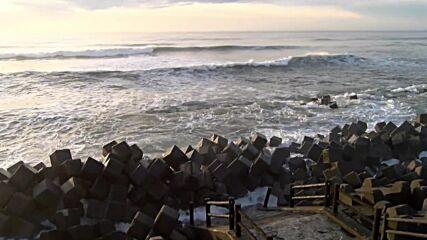 Japan: Strong wind and waves on Fukushima coast amid tropical storm Nepartak