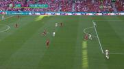 Голът на Юсиф Поулсен срещу Белгия