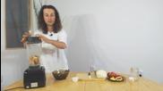 Домати, зеле и сурова бамя със сос от покълнала елда и ленено семе