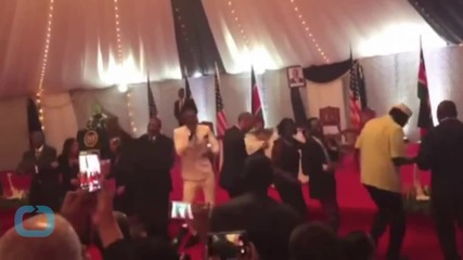 President Barack Obama Dances With Kenyan Pop Group Sauti Sol During a Trip to Nairobi
