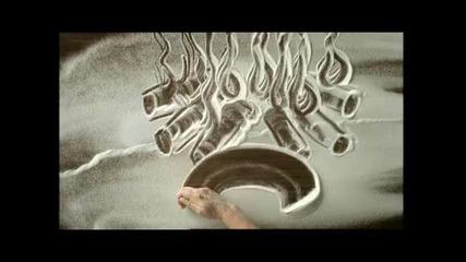 Рисуване с ръце върху брашно