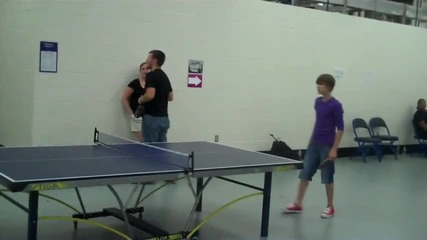 Justin Bieber playing Ping Pong backstage Hartford, Ct 06 23 2010