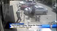 Работник на бензиностанция пребива нагли крадци