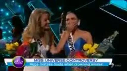 """Скандал на """"мис Вселена"""" Дадоха короната на грешна красавица"""