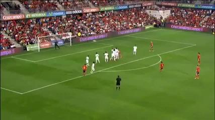 Гол от пряк свободен на Xavi за Испания срещу Саудитска Арабия - Hd