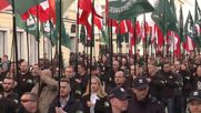 Poland: Nationalists march through Warsaw; heckled by antifa counter-demo