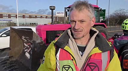 UK: Extinction Rebellion hold bulldozer lie-in on road near Heathrow Airport