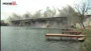 Светкавично взривяване на стар мост..