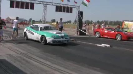 Ferrari F - 430 Vs. Alfa Romeo Gtv Drag Race