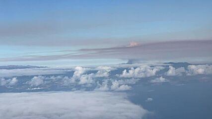 Spain: La Palma volcano eruption smoke as seen from plane