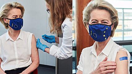 Belgium: EU commission President Ursula von der Leyen receives COVID jab *STILL*