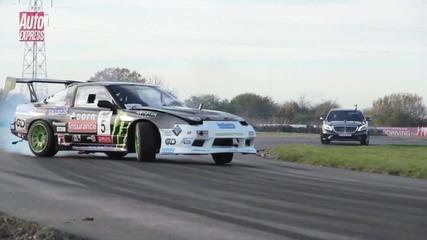 Дрифт тест Mercedes S63 Amg срещу Nissan 200sx