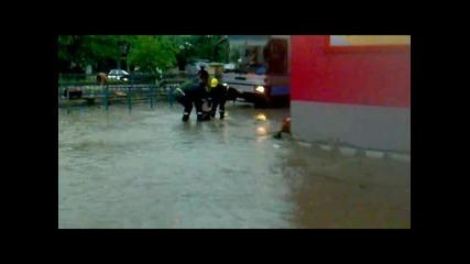 Наводнение в Сандански след дъжд 18.06.2010