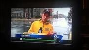 Кола дрифтира по време на репортаж за Урагана Санди