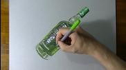 Рисуване на бутилка в стил 3d