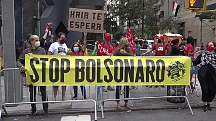 USA: Protesters rally against Bolsonaro ahead of UN speech in NYC