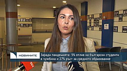 Заради пандемията: 5% отлив на български студенти в чужбина и 27% ръст за средното образование