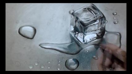 Страхотна реалистична рисунка на ледено блокче!