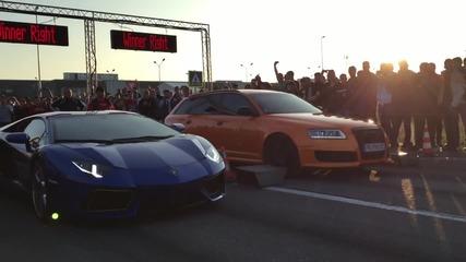 Българско Audi Rs6 Срещу Lamborghini Aventador
