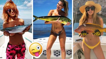 Ново предизвикателство - хит онлайн! Мацки хвърлят сутиени и се снимат с риба!