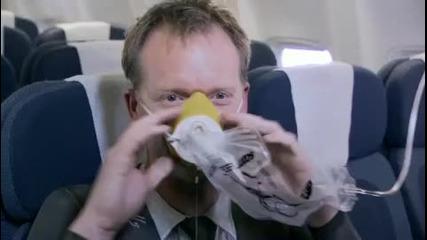 Приготволенията на Air New Zealand за заснемане на за безостност по време но полет.