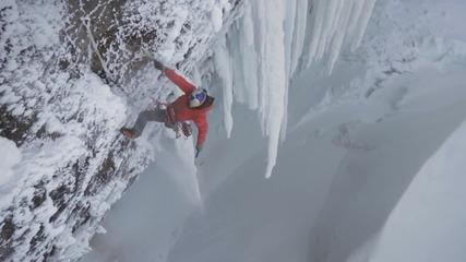 Ледено катерене по активен водопад