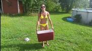 Sexy girl in bikini Als ice water bucket challenge