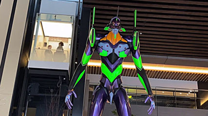 Evangelion Test Type robot replica stands tall at Nagoya shopping complex