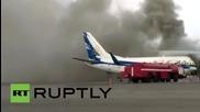 Самолет се запали в Казахстан