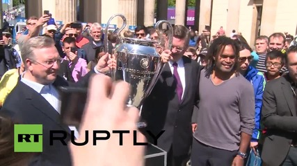 Germany: C. Karembeu presents UEFA CL trophy ahead of historic final