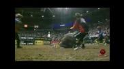 Train Wreck rolls over J.b. Mauney at the Pbr World Finals