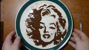 Рисуване с мляно кафе - Мерилин Монро