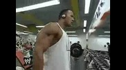 The Rock training at the fitness