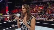 Stephanie Mcmahon makes an announcement regarding the fate of the Wwe World Heavyweight Title Raw