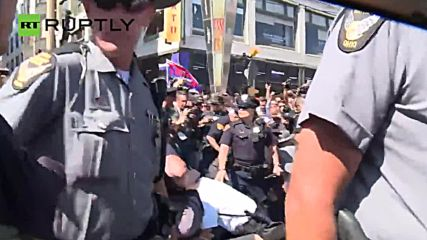 'Blood-Soaked' US Flag Burned by Protesters Outside RNC