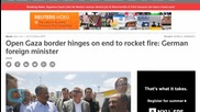 Open Gaza Border Hinges on End to Rocket Fire: German Foreign Minister