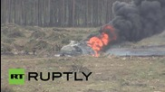 Russia: Pilot miraculously escapes burning helicopter wreckage