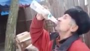 Руснак пие на екс 3 бутилка водка